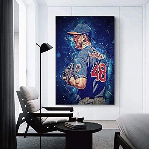 DCPPCPD Lienzo Pintura Al Óleo 60 * 90cm Sin Marco Jacob deGrom Baseball Sport para decoración de Comedor, Ilustraciones Impresas, Carteles