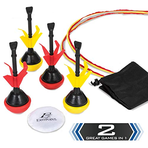 EastPoint Sports 2-in-1 Lawn Darts & Bocce Darts Combo Set for Outdoor Games & Backyard Fun – Includes Portable Carry Bag for Easy Transport, Black