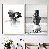 Impresiones de arte de pared Cartel nórdico Amor romántico Flor Playa Lienzo Pintura Imágenes para parejas Amantes Decoración de la habitación 50x80cmx2pcs Sin marco