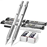 Nicpro Mechanical Pencils Set, Metal Automatic Drafting Pencil 0.5 mm and 0.7 mm Mechanical Pencil Graph With 4 Tubes HB Pencil Lead Refills And 2 Erasers For Writing Draft, Drawing, Sketch -With Case