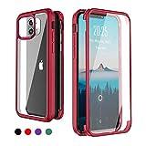 Yutwo Custodia per iPhone 12 Mini, 360 Gradi Cover Antiurto Trasparente Case con Protezione Integrata dello Schermo, Anti-Caduta Rugged Case per iPhone 12 Mini, Rosso