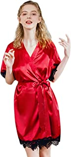 Women's Pure Colour Short Satin Kimono Robes with Oblique V-Neck