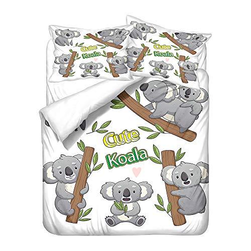 Stillshine. Juego Cama Dibujos Animados Koala Animal Funda Nórdica Niño Niña Sábana Fibra Extrafina con Cremallera + Funda de Almohada (A3,Single 135x200 cm)
