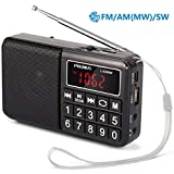 PRUNUS L-238SW Portable SW/FM/AM/MP3/USB/SD/TF radio with neodymium speaker. Large button and large display....