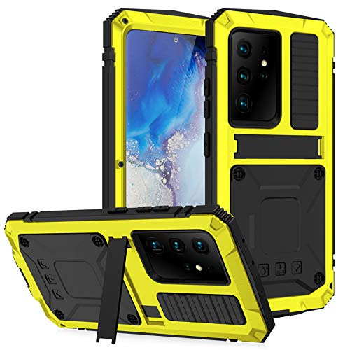 Funda para Samsung Galaxy S21/S21 Plus/S21 Ultra, [Anti-Polvo & Anti-Arañazos] Heavy Duty Metal Bumper Antichoque Case con Soporte,Yellow,S21Plus