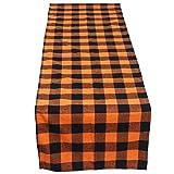 Runner da tavolo in tela di cotone per Halloween, per interni ed esterni, feste, cene in famiglia o raduni, 30,5 x 177,8 cm, per 4-6 persone, colore: arancione e nero