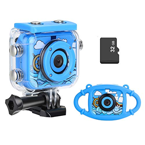 Kids Camera, Underwater Waterproof Digital Camera Kids Gifts for Boys Girls Age 3-13 HD Mini Children Camcorder 2 Inch IPS Screen with 32GB Card and Soft Silicone Case (Blue)