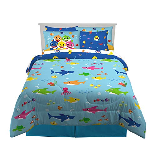 Franco Kids Bedding Super Soft Comforter and Sheet Set with Sham, 7 Piece Full Size, Baby Shark