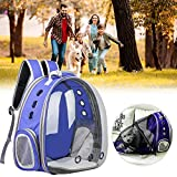 WINBST Mochila para mascotas, perros, gatos, mochila espacial, astronauta para mascotas, con 9 agujeros, portátil, bolsa de transporte, viaje, transpirable, color azul marino