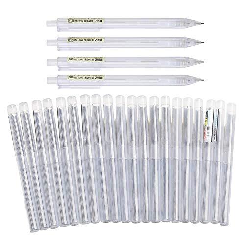 Clyhon 24 set portamine, 4 matite meccaniche 0,5 mm e 0,7 mm, 20 matite 0,5 e 0,7, utilizzati per scrivere bozze, disegni, schizzi (matite)