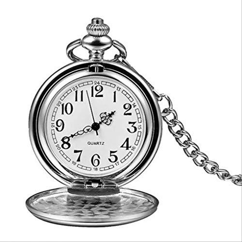 KUANDARGG Hombres Mujeres Colgante Steampunk Números Romanos Moda Collar De Plata Reloj De Bolsillo Reloj De Bolsillo De Cuarzo Liso Plateado Cadena Fob, Silver Arabic Number