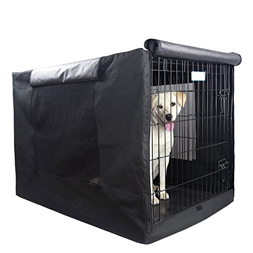 """Petsfit 42"""" Lx28 Wx30 H Black Polyester Crate Cover, for 5000 Wire Crate, Just A Cover, Only One Door"""