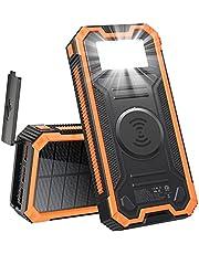 Solar Power Bank Solar Charger 30000mAh, draadloze draagbare zonnelader met 3 uitgangen & LED-zaklamp, USB C Snelle lading Waterdichte Telefoon oplader