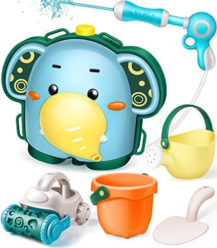 GeyiieTOYS Wasserpistole mit Tankrucksack Wassertank Spielzeug 1900ml 6-teilig Sandspielzeug Sandformen Schaufel Eimer für Kinder Pool Strand Badespielzeug ab 1 Jahr