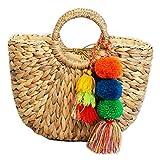 HWUDFSLG Handgefertigte Tasche Frauen Pompon Beach Weaving Damen Strohsack Gewickelt Strandtasche...