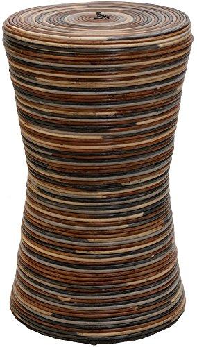 korb.outlet Wäschetonne/Wäschesammler rund aus echtem Rattan (Mehrfarbig)