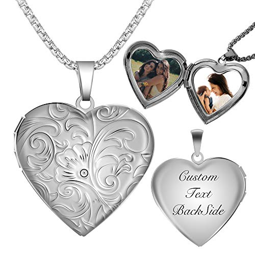 Fanery Sue Personalized Heart Locket Necklace That Holds Pictures Memory Photo Lockets Custom Any Photo Text&Symbols (Custom Photo&Text-Daisy Flower)