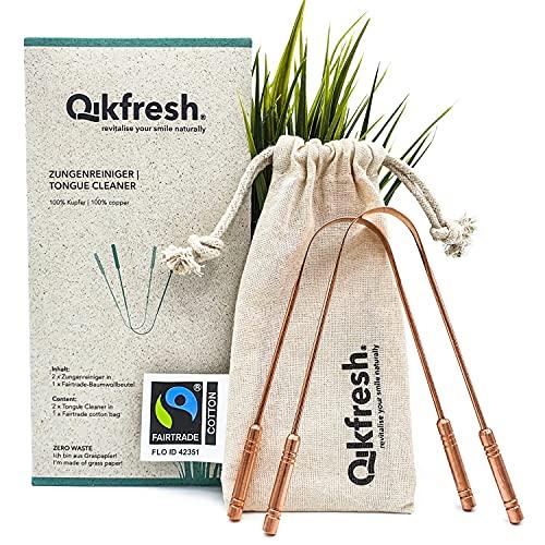 Qikfresh – 2x 100% koperen tongschrapers, incl. Fairtrade katoenen zakje | Antibacteriële Tongschraper, Stevige…