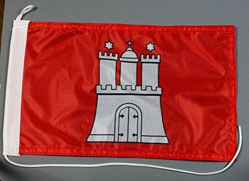 Buddel-Bini Bootsflagge Hamburg 20 x 30 cm in Profiqualität Flagge Motorradflagge