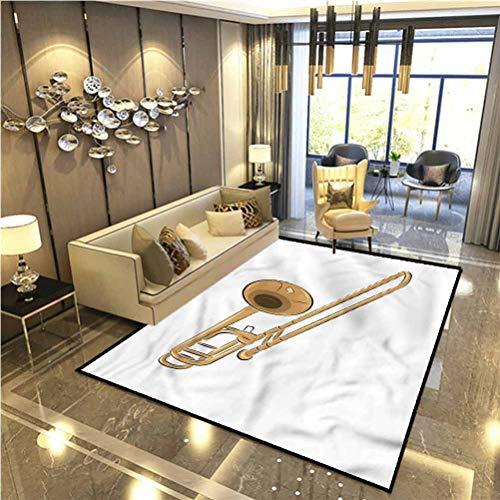 Trombone Fur Rugs for Bedroom Symphonic Music Jazz Funky Dining Room Home Bedroom Carpet Floor Mat 4 x 6 Ft