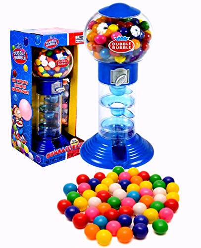 """PlayO 10.5"""" Spiral Gumball Machine Toy Bank - Dubble Bubble Spiral Style Includes Aprox 40 Gum Balls - Kids Prizes (Blue Spiral Machine)"""