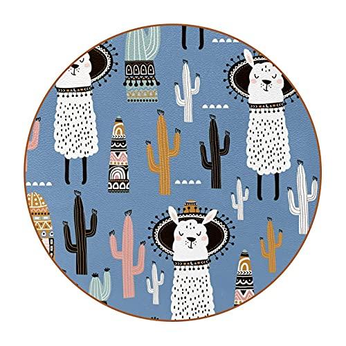6 Pieza Creativa Diseño Posavasos Lindo Cactus de Alpaca Posavasos de Cuero de Microfibra, Tipos de Café té Cristal Posavasos Portavasos Mat para Cocina Salón y Bar 11cm