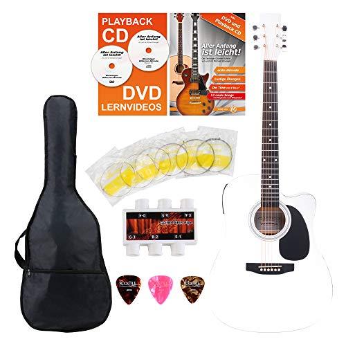 Classic Cantabile WS-10WH-CE Westerngitarre mit Tonabnehmer Starter-Set (Dreadnought-Style, Cutaway, 6 Saiten, 20 Bünde, inkl. Zubehörset, Gitarrentasche, Notenheft, Saiten, Plektren) weiß