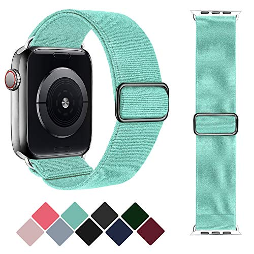 Greatfine Stretchy Solo Loop Strap Compatible with Apple Watch Bands 42mm 44mm,Elastic Nylon Braided Band&Adjustable Buckle Women Men Sport Watch Bands for iWatch Series 6/5/4/3/2/1 SE(M Green-42/44)