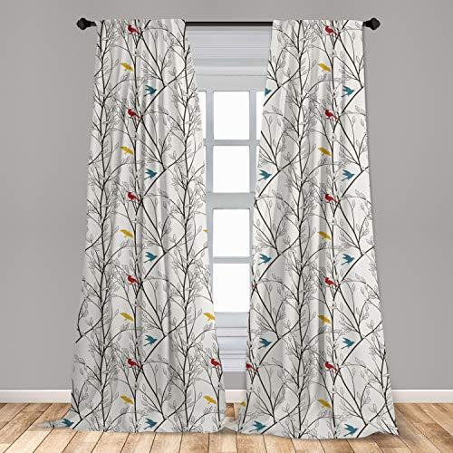 "Ambesonne Nature Curtains, Birds Wildlife Cartoon Like Image with Tree Leaf Art Print, Window Treatments 2 Panel Set for Living Room Bedroom Decor, 56"" x 84"", Mustard Maroon"