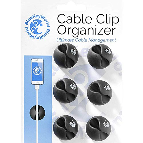 Cable Clips - Cord Organizer - Cable Management - Wire Holder System - 6 Pack Adhesive Cord Hooks - Home, Office, Cubicle, Car, Nightstand, Desk Accessories - Gift Ideas Men, Women, Dad, Mom, Him, Her
