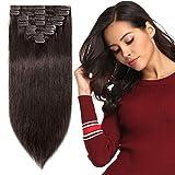 8 Bandes Extensions a Clips Cheveux Naturels Court Raide - Remy Human Hair Extension - Epaisseur Moyenne (#2 CHATAIN FONCE, 20cm-65g)