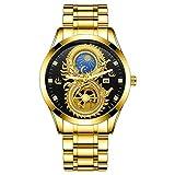 Reloj de pulsera para hombre, diseño de dragón Phoenix Moon y Star Glow in The Dark Calendar, chapado en oro resistente al agua