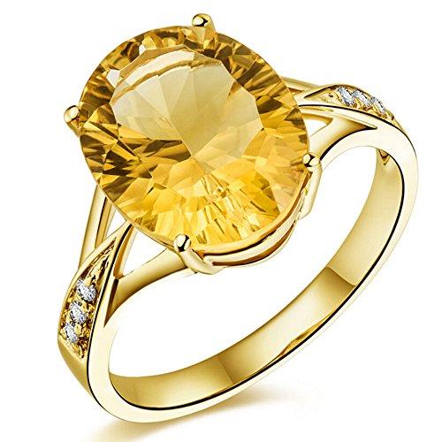 mode natürlich Citrin Edelstein Ovalschliff Solide 14K (585) Gelbgold Diamant Hochzeit Verlobungsringe Versprechen Ringe für Damen