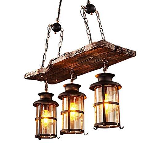 Lámpara pendiente de la vendimia, Industriales colgante de la lámpara colgante de madera retro de la luz Negro hierro y vidrio Pantalla de altura regulable lámparas tipo loft en el interior de la lámp