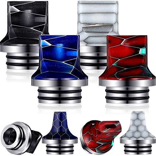 810 Drip Tip Replacement Resin Drip Tip Connector Honeycomb Standard Drip Tip Cover Quick Fitting for Coffee Machine Favors Ice Maker (Black, White, Red, Dark Blue,4 Pieces)