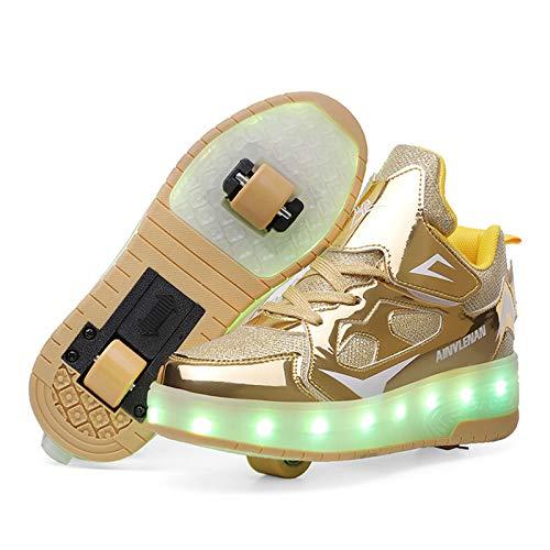 RDJSHOP Unisex Niños Zapatos de Patines Zapatillas de Deporte Luminosas con Luces LED de Carga USB Patineta Técnica Retráctil con Ruedas Dobles para Niños Niñas,Gold-13 UK Child