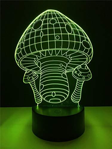 Acryl Kreative niedliche pilzförmige 3D-Lampe LED USB-Stimmung Nachtlicht Mehrfarben Touch oder Fernlicht Ersatz Tischlampe