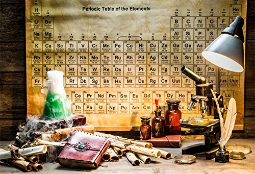 AOFOTO 10x8ft Chemical Laboratory Backdrop Book Liquid Medicine Letters Microscope Lamps Periodic Table of The Elements on The Wall Photography Background School Lab Photo Studio Drapes