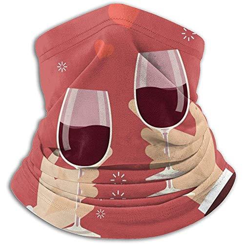 Randy-Shop Valentinstag Mann und Frau beim Anstoßen von Weingläsern Halswärmer Gamasche Stirnband Kopftuch Kopfwickelschal Sturmhaube