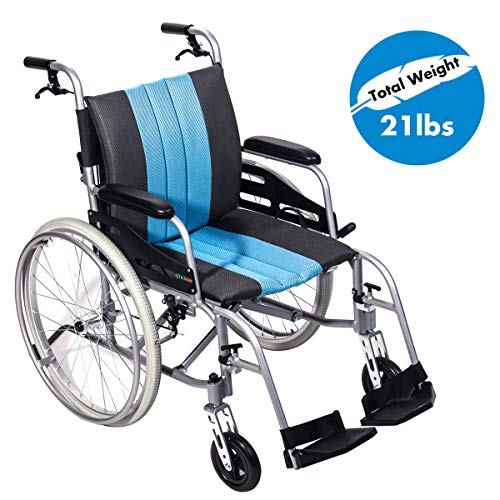"Hi-Fortune 21lbs Lightweight Medical Manual Wheelchair with Full Length Padded Armrests and Hand Brakes, Portable and Folding with Magnesium Alloy, 17.5"" Seat, Blue"