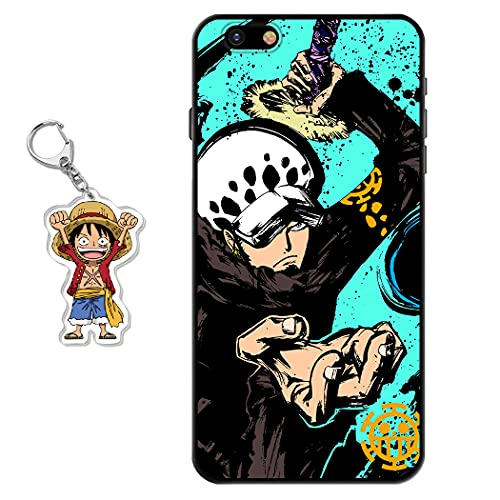 Funda iPhone 6 Plus/iPhone 6s Plus One Piece Anime Diseño [con One Piece Figura Llavero] Silicona TPU Cover Caso Dibujos Animados Carcasa para iPhone 6 Plus/iPhone 6s Plus