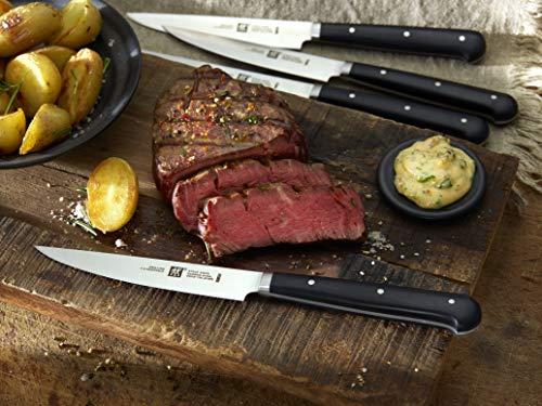 Zwilling 39029-000-0 - Juego de 4 Cuchillos para Carne (Acero Inoxidable, 12 cm), Color Negro