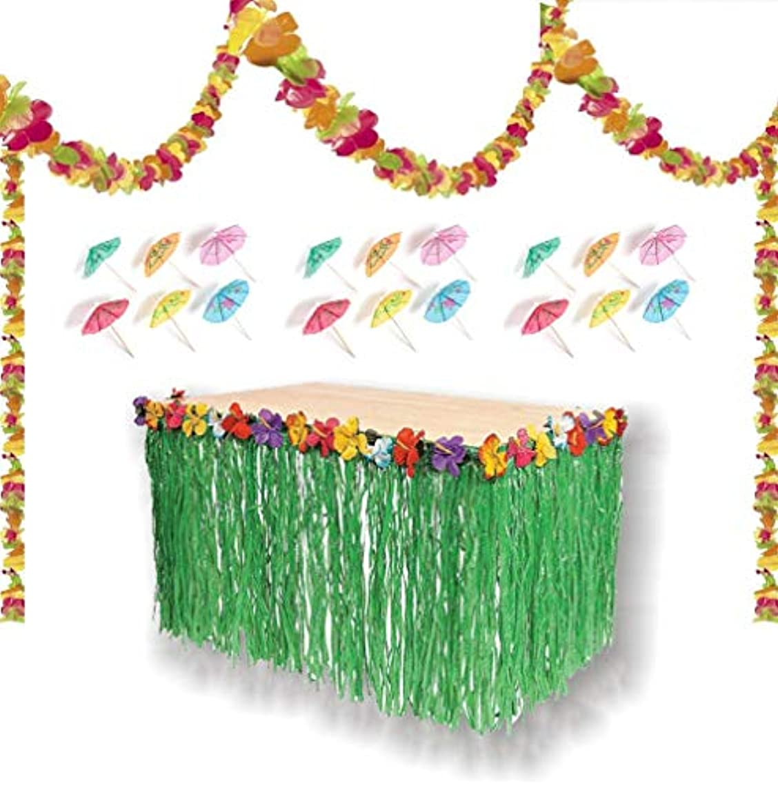 PMLAND Luau Party Decoration Set - Lei Garland(100 ft), Grass Table Skirt, 144 Paper Cocktail Umbrellas