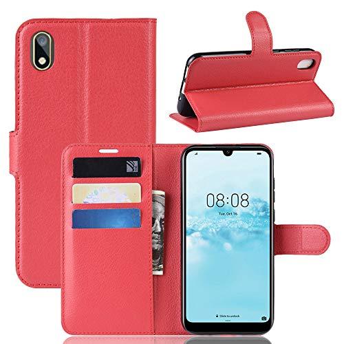 betterfon | Huawei Y5 2019 Hülle Handy Tasche Handyhülle Etui Wallet Hülle Schutzhülle mit Magnetverschluss/Kartenfächer für Huawei Y5 2019 PU-Leder Rot