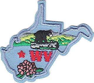 WEST Virginia State Shape Iron On Embroidered Patch
