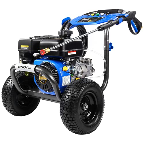 """Gas Pressure Washer, 3400 PSI at 2.6 GPM, 5 Kinds of Nozzles, Two 12"""" Large Wheels, 3.6L Gasoline Tank, Easy Move and Store, for Cleaning Walls,..."""