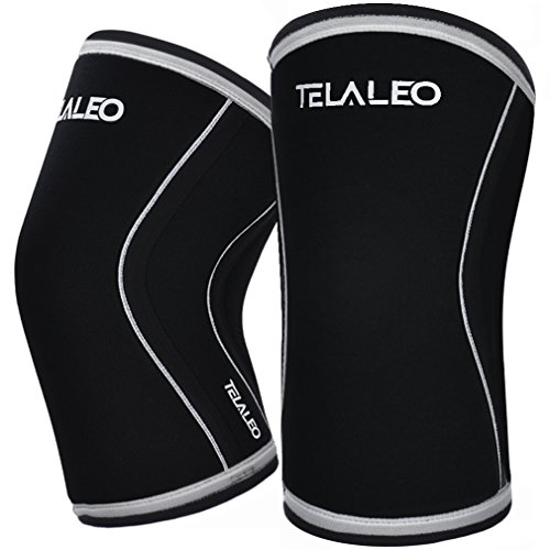 TELALEO Knee Sleeves (1 Pair), 7mm Thick Compression Knee Braces Offer Strong Support for Heavy-Lifting, Squats, Gym and Other Sports