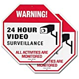 "Video Surveillance Signs Outdoor for Private Property Yard Home Security System – 11.8"" x11.8 40Mil Rust Free Aluminum 24 Hour Warning Metal Surveillance Camera Sign - 2 Pack 2k monitors May, 2021"