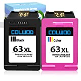 CLOWOD ReManufactured Ink Cartridge Replacement for HP 63 63XL use with HP OfficeJet 5255 3830 4650 5258 3832 HP DeskJet 2132 3630 3636 HP Envy 4525 4528(1 Black + 1 Tri-Color)