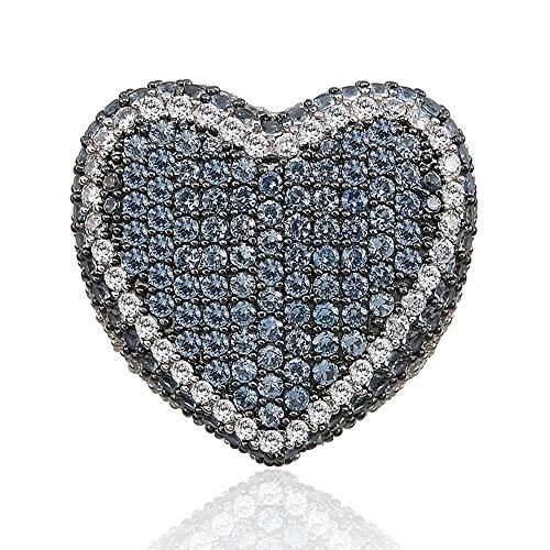 MXMYFZ Hip Hop Ring Fashion Love Farbe Herrenring 3A Zirkon Trendy Hip Hop Ring Herren Bling Ice Out Ring Schmuck,Blue,11#